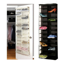 26-Pocket Shoe Rack Storage Organizer Holder Hook Folding Hanging on Door Closet(China)