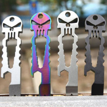 Stainless Steel Tactical EDC Pocket Multi-tool Screwdriver Crowbar Titanium Skull Keychain Llaveros  Skeleton Chaveiros Caveira