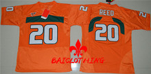 2017  BAICLOTHING Miami Hurricanes Ed Reed 20 College  Basketball Jerseys - Orange Size S,M,L,XL