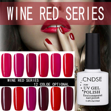 CNDSE 12 Color 10ML Wine Red Nail Polish Long Lasting Colorful UV Gel Glitter Nail Polish Lacquer Nail Gel Sets
