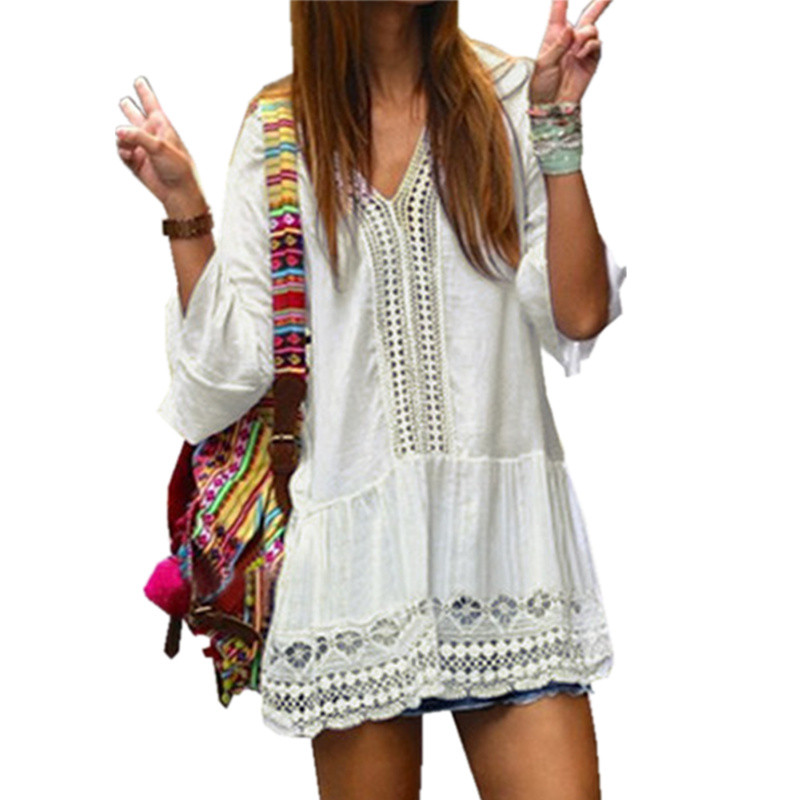 Women 3/4 Flare Sleeve Short Mini Dress Sundress 2017 Women Crochet Hollow Sexy V Neck Summer Boho Beach Dress Vestidos