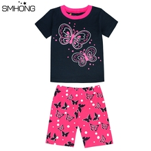 SMHONG Summer Short Sleeve Kids Pajamas 2-8 Years Sleepwear For Girls Butterfly Cute Children's Pyjamas Home Clothing 12 Styles(China)