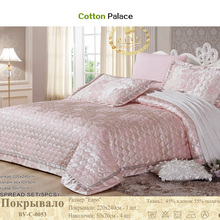 Quilted Quilt thick bed Sheet+pillowcases set 5pcs embroidery bedspreads stiching Bedcover pink jacquard coverlet
