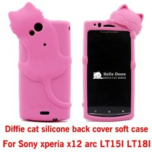 3D Diffie Cat Silicone soft Case Cover For Sony Ericsson Xperia Arc(X12) lt15i lt18i