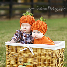 Crochet BABY Halloween Pumpkin Hat Beanie Infant Baby kids Knitted Hat Bonnet Crochet Boy Girl Pumpkin Hat CAP FOR WINTER