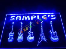 DZ046- Name Personalized Custom Guitar  Weapon Band Music Room Bar Neon Sign  hang sign home decor shop crafts