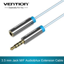 Vention 3.5 mm Jack male to female Audio Stereo Aux Extension Cable with MIC 1m/1.5m/2m/3m/5m for Headphone/PC/DVD/TV/Car(China)