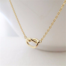 10pcs_Fashion Love Knot Charm Necklace For Bridesmaid Gift Birthday Gift Love Heart Necklace Tied Knot Necklace(China)