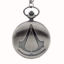 New Fashion Bronze Assassin's Creed Sci-Fi Movie Quartz Pocket Watch Analog Pendant Necklace Mens Womens Watches Chain Gift