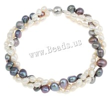 Freshwater Cultured Pearl Bracelet Unique Freshwater Pearl brass copper bronze magnetite clasp 3-strand & two tone 4-5mm