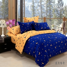velvety microfiber moon and stars king queen full size 3/4 pieces bedding set doona/duvet cover flat sheet set