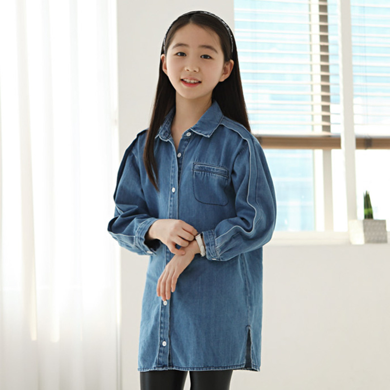 jeans shirts for girls 2017 spring autumn long blue pockets cotton teenage baby girl denim shirt long sleeve coats kids clothes<br>