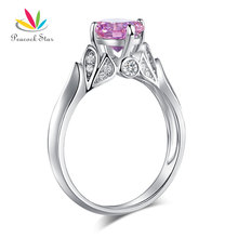 Peacock Star Flower 925 Sterling Silver Wedding Promise Anniversary Ring 1.25 Ct Fancy Pink Stone Jewelry CFR8258(Hong Kong,China)