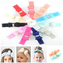 30pcs/lot Toddler Fashion Lace Headband with Lace Wrapped Satin PVC Bowknot Hair Accessories Bulk Sale 12 Color U Pick FD224(China)