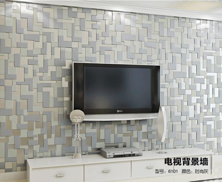 High quality 3D Mosaic Lattice Wall paper Europe Modern Embossed Flocking Non-Woven Living room TV Background Wallpaper<br>