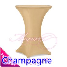 Champagne colour colour table cover cocktail table cloth lycra high bar table linen wedding party hotel table decoration on sale(China)