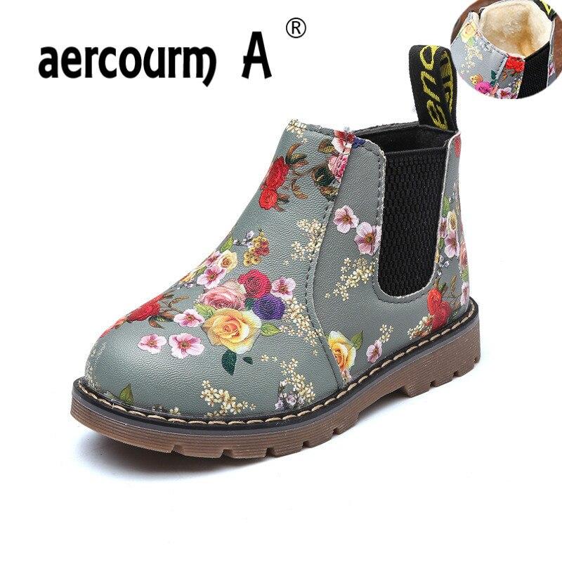 Durable Toddler//Little Kid Non-Slip Spring Autumn Kids Girls Shoes Floral Martin Boots Color : Purple , Size : 11 M US Little Kid