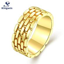 Brand famous designer ring father's day jewelry latest collections cz Pure Gold Color unisex finger rings high quality