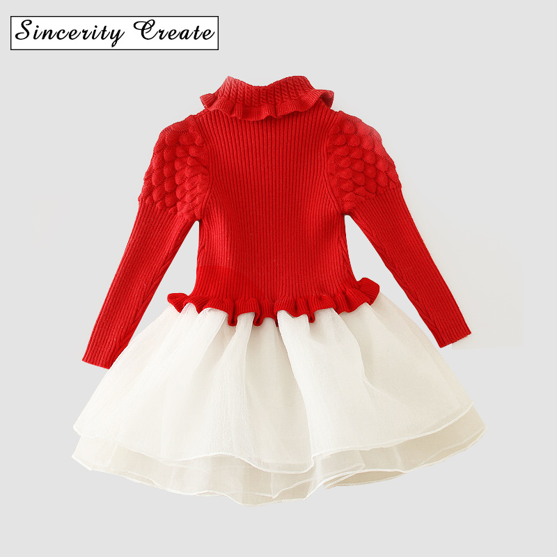 NEAT Christmas Baby Girl Clothes Lovely Red Patchwork Pattern Cotton Turtleneck Girl Dress Sweater Kids Dress For Girl AD-1641<br>