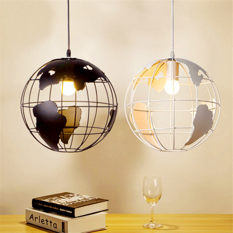 Nordic Modern Cord globe ball Pendant light world map E27 lamp White and black for living room cafe bar Loft Vintage luminarias <br>