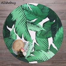 3D Leaf Print Round Mandala Beach Cover Ups Blanket Bohomian Cove Ups Throw Wrap Sarong Sunscreen SVK031661(China)