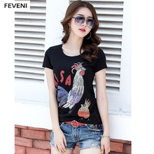 Brand Design Women T Shirt Rhinestone Rooster O Neck Short Sleeve T-Shirt Slim Grey Cotton High Quality Female Plus Tee Y03252