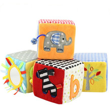 4pcs/set Baby Cloth Blocks Toy 8.5 cm Soft Play Cubes Cloth Plush Building Blocks Early Educational Toy Colorful Baby Rattles(China)