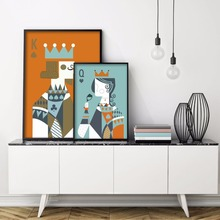 Poker King Queen Love Minimalist Pair of Art Print Poster Abstract Image Wall of Canvas Painting With UnFramed Room Home Decor