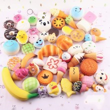 10 PS/SET Cake Breads Phone Straps Pendant Panda Mole Smiling Face Decompress Toys Simulation Toy Random Delivery