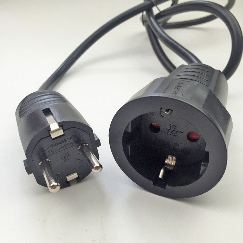 250V 16A European/German standard socket and plug power line 3*1.5 MM/1 Meters Cable Extension cord 2