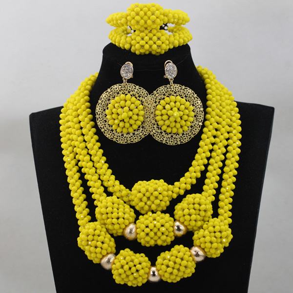 Elegant Crystal Bridal Beads Jewellery Sets for African wedding Yellow Ceremony Indian Pendant Necklace Set Free Shipping WD572