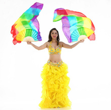 Womens Left Right Hand Rainbow Color Belly Dance Silk Fan Veils Pair Oriental Dancing Accessories