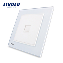 Livolo UK standard One gang Computer Socket Wall Socket(COM)  ,White Crystal Glass Panel VL-W291C-12.