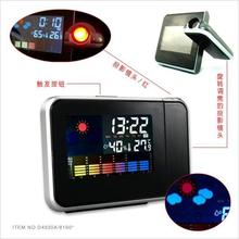 Fashion Hot Attention Projection Digital Weather LCD Snooze Alarm Clock Projector Color Display LED Backlight(China)