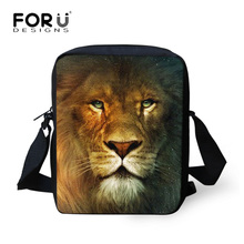 FORUDESIGNS Lion Women's Crossbody Messenger Handbag Small Pouch Tiger Animals Men Travel Mini Shoulder Bags Tote for Girls Boys(China)