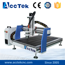 Acctek mini cnc router manufacturer 4 axis 6090/6012 with rotary device water tank cooling(China)