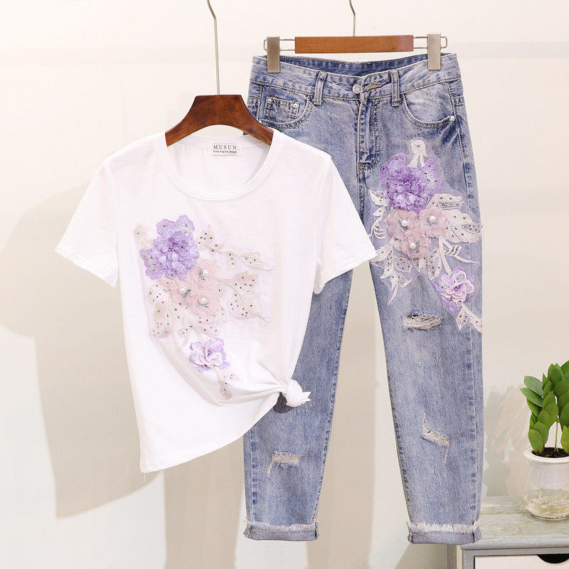 2019 Summer Beads Embroidery Stereo Flower Short Sleeve Cotton T-Shirt + Broken Hole Seven Points Jeans Two Piece Sets Female