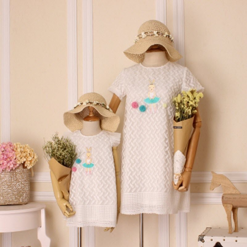Children clothing Mother and Daughter dress XL-XXXL lady Women infant kids mom girls Dress with Dancing rabbit Beautiful skirt<br>