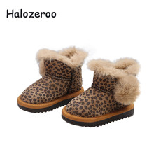 Halozeroo New Winter Baby Girl Genuine Leather Snow Boots Children Leopard  Soft Boots Boy Brand Black Boots Toddler Warm Shoes f8641087cc4f