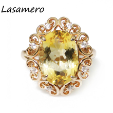LASAMERO 10*14mm Oval Cut Citrine Aniversary Promise Ring 925 Sterling Silver Fine Jewelry