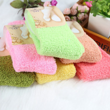 Buy free 300pairs/LOT Women Girls Bed Socks Pure Color Fluffy Warm Winter Kids Gift Soft Floor Home clothing accessories for $286.90 in AliExpress store