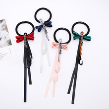 Lovely Cloth Fabric  Dragonfly Ribon Shape Elasitc Hair Bands Rhinestones Hair Tie for Women Girl Hair Accessories Headwear