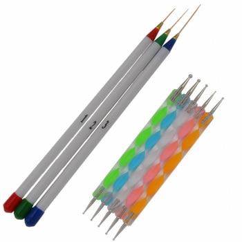 5Pcs 2 Way Dotting Marbleizing Painting Pen +  3pcs Nail Art Design DIY Drawing Painting Striping Nail Gel Pen  + Free Shipping