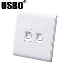 White 220 / 250V 0.2A telephone network computer socket two-in-one interface CE Certification PC wall panel UK EU 86-style(China)