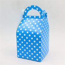 12pcs\lot Light Blue Polka Dots Happy Baby Shower Decoration Candy Box Kids Favors Theme Gifts Boxes Birthday Party Supplies(China)
