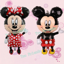 Large 112cm Giant Mickey Minnie balloons Big Red Bowknot standing mouse Airwalker Balloons for Kids Birthday Party Decoration