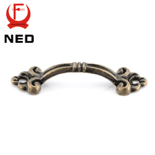 30pcs NED Handles Knobs Pendants Flowers For Drawer Wooden Jewelry Box Furniture Hardware Bronze Tone Handle Cabinet Pulls