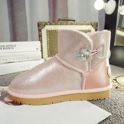 Winter New Women Warm Shoes Genuine Leather Low Rhinestone Snow Boots Waterproof Thick Ankle Women Boots Chaussure Femme<br><br>Aliexpress