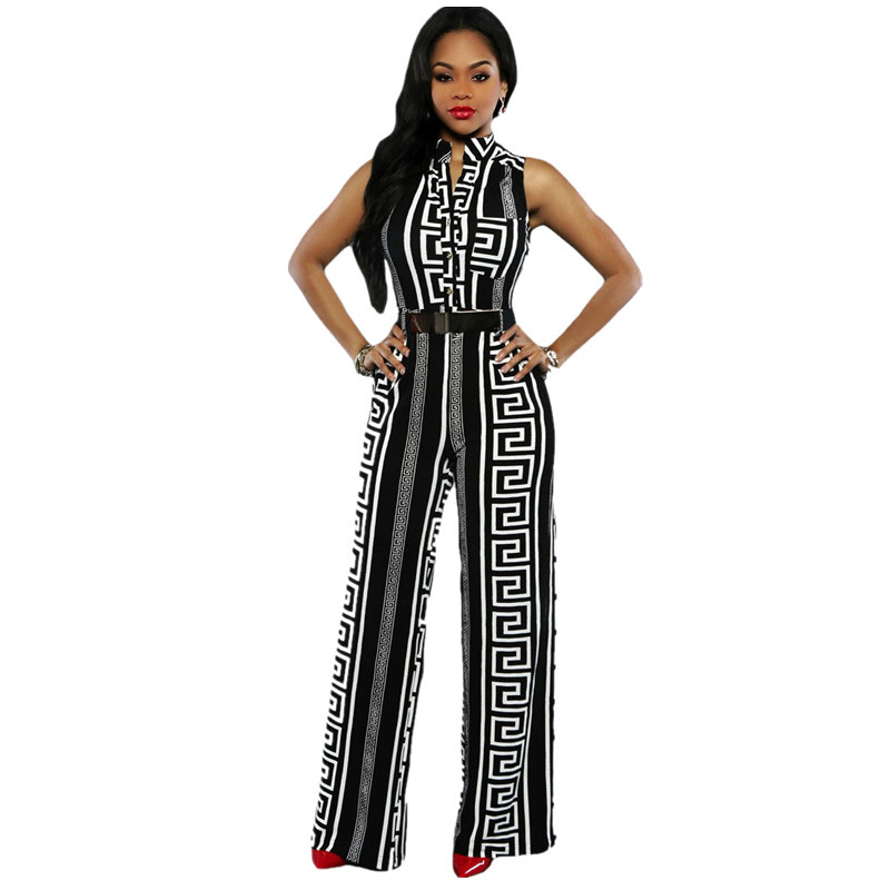 Dear-Lover-Wide-Leg-Jumpsuit-Overalls-2016-Long-Trousers-Outfits-Fashion-Women-Black-Print-Gold-Belted