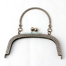 1PCs Rectangle Metal Purse Bag Frame Kiss Clasp Lock With Handle Jewelry Tools Accessories(China)